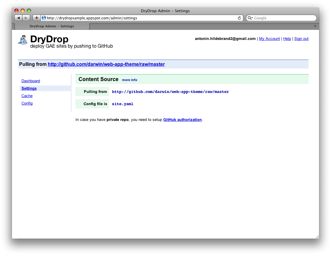 DryDrop updates App Engine site after pushing to GitHub