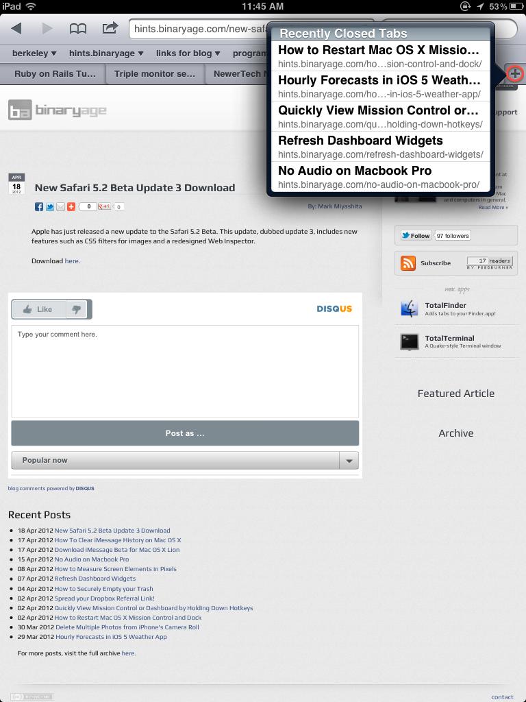 Open Recently Closed Safari Tabs in iOS 5 1