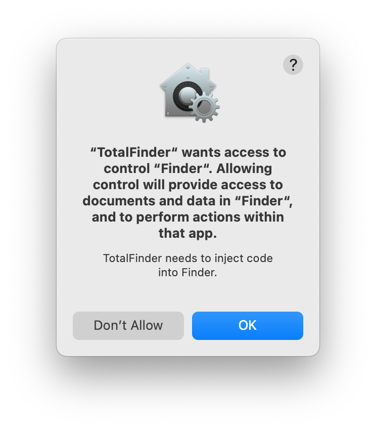 TotalFinder permission prompt