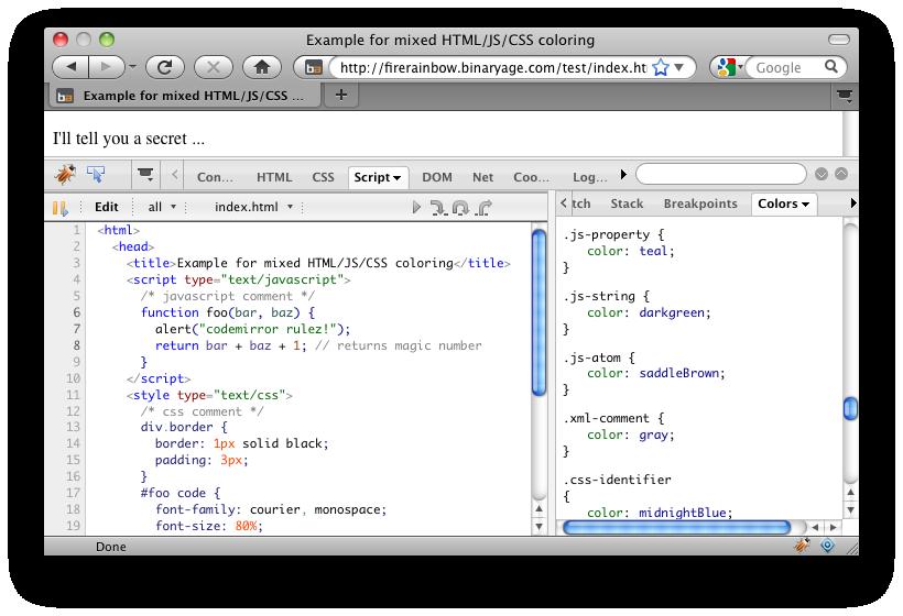 FireRainbow enables javascript syntax highlighting for Firebug